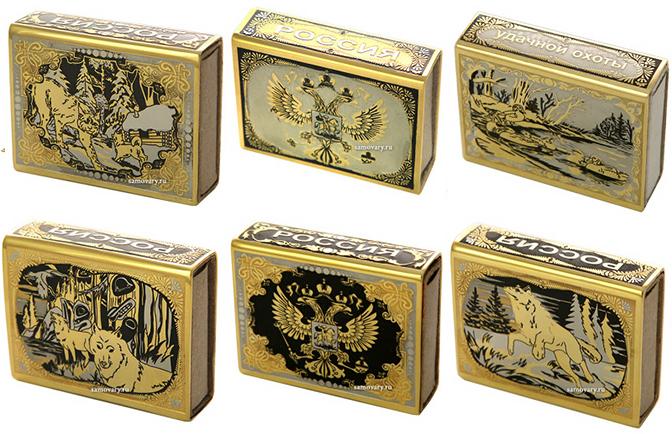 Позолоченные футляры для спичек златоуст в подарок