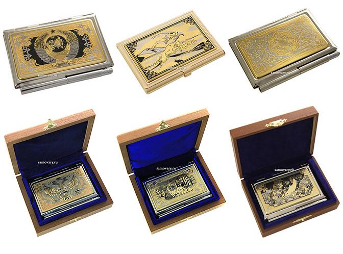 Позолоченные визитницы златоуст в подарок