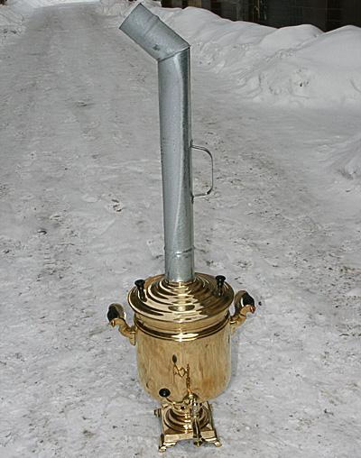 Самовар на  дровах на 7 литров желтый цилиндр