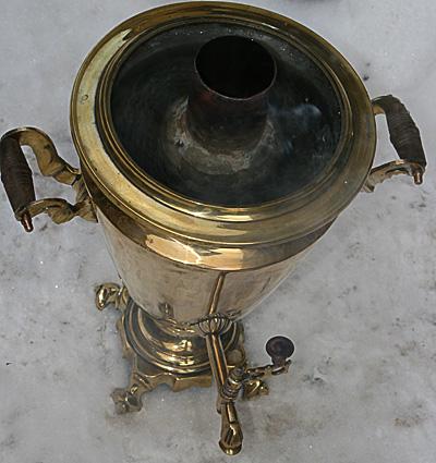 Угольный самовар 5 литров желтый конус