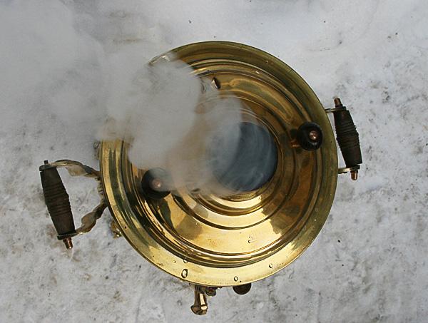Угольный самовар 7 литров желтый цилиндр